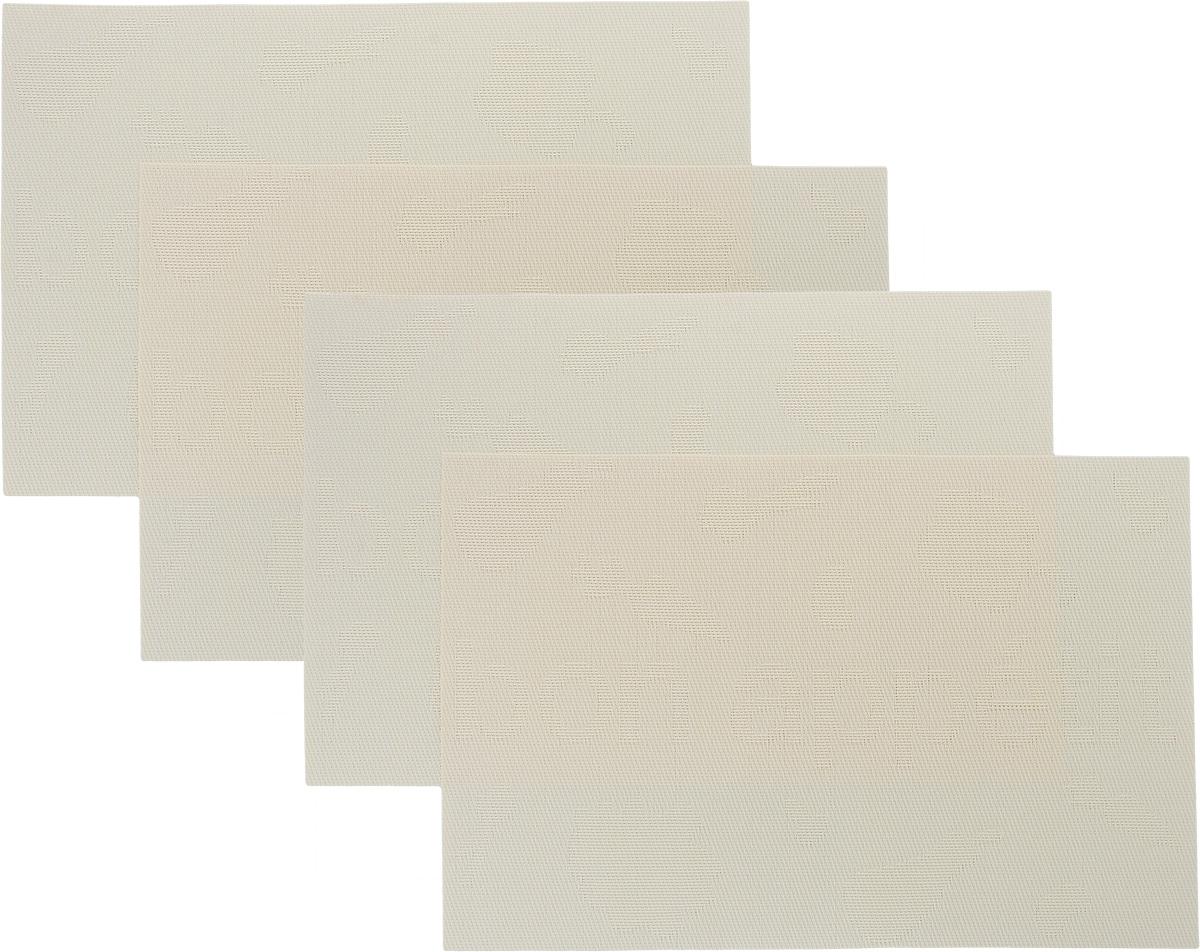 Набор сервировочных салфеток Oursson Bon Appetit, 30 х 45 см, 4 штHS89599/IVНабор Oursson Bon Appetit состоит из 4 салфеток, изготовленных на 70% из ПВХ и на 30% из полиэстера, они не впитывают влагу и легко моются. Набор салфеток предназначен для сервировки стола и украшения интерьера кухни, столовой или гостиной. Для ухода за салфетками можно использовать любые моющие средства. Необычный дизайн, практичность и высокая износостойкость делают салфетки удобным и полезным аксессуаром для дома. Салфетка станет прекрасным завершающим элементом в сервировке стола. С ней любой ужин будет как праздничный. Размер: 30 х 45 см.
