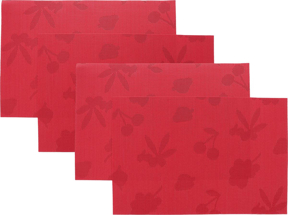 Набор сервировочных салфеток Oursson Ягоды, 30 х 45 см, 4 штHS89598/RDНабор Oursson Ягоды состоит из 4 салфеток, изготовленных на 70% из ПВХ и на 30% из полиэстера, они не впитывают влагу и легко моются. Набор салфеток предназначен для сервировки стола и украшения интерьера кухни, столовой или гостиной. Для ухода за салфетками можно использовать любые моющие средства. Необычный дизайн, практичность и высокая износостойкость делают салфетки удобным и полезным аксессуаром для дома. Салфетка станет прекрасным завершающим элементом в сервировке стола. С ней любой ужин будет как праздничный. Размер: 30 х 45 см.