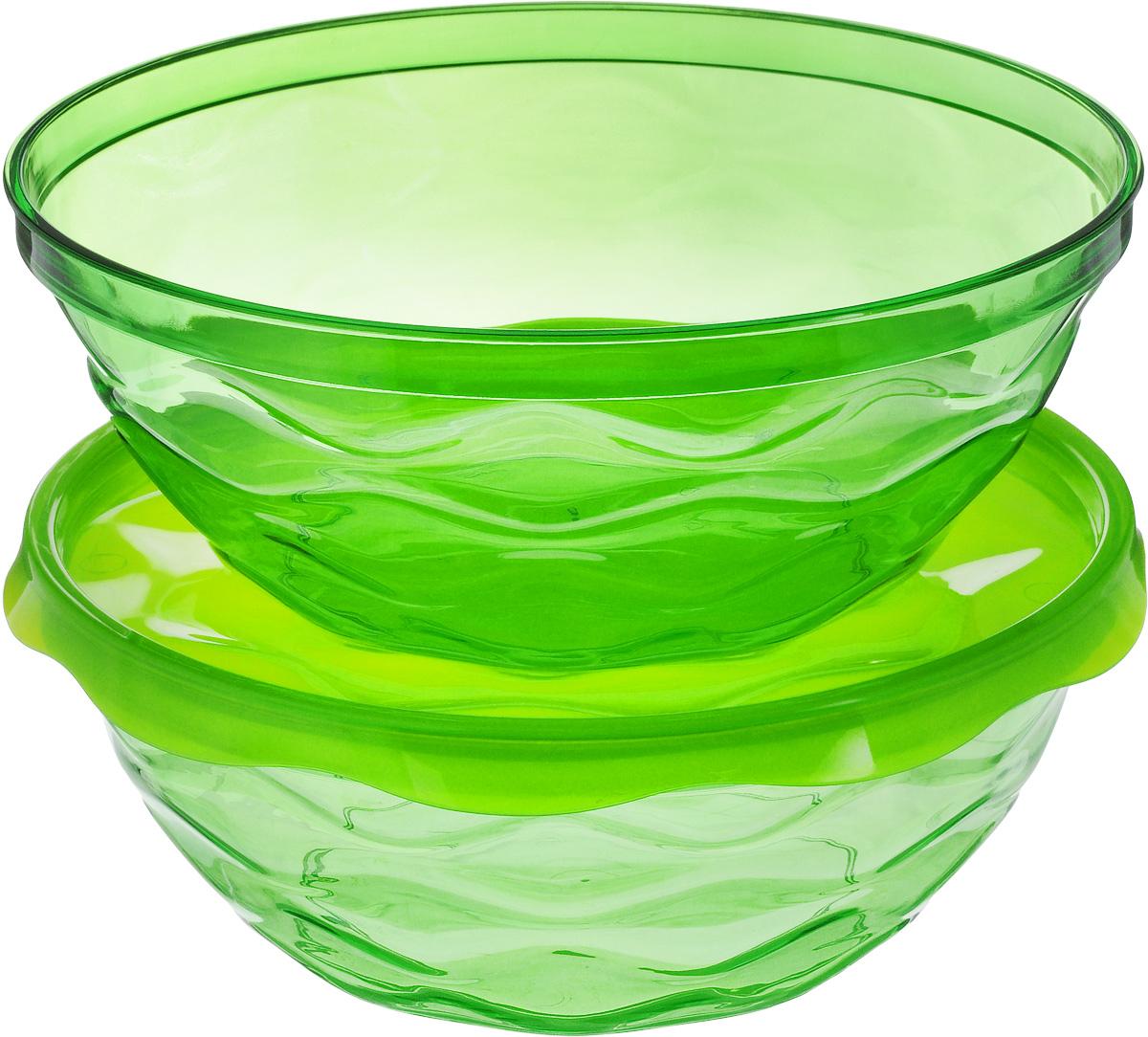 Набор салатников Giaretti Riva, цвет: зеленый, 2,5 л, 3 предметаGR1838МИКС_зеленыйНабор Giaretti Riva состоит из двух салатников, выполненных из прозрачного полистирола. Салатники прекрасно подходят как для приготовления, так и для подачи различных блюд на стол. Стильный дизайн и яркие цвета создадут творческую атмосферу на вашей кухне. В комплект входит удобная плотная крышка, которая сохранит свежесть приготовленных блюд. Можно мыть в посудомоечной машине. Объем салатников: 2,5 л. Высота стенки: 9 см. Диаметр: 23 см.