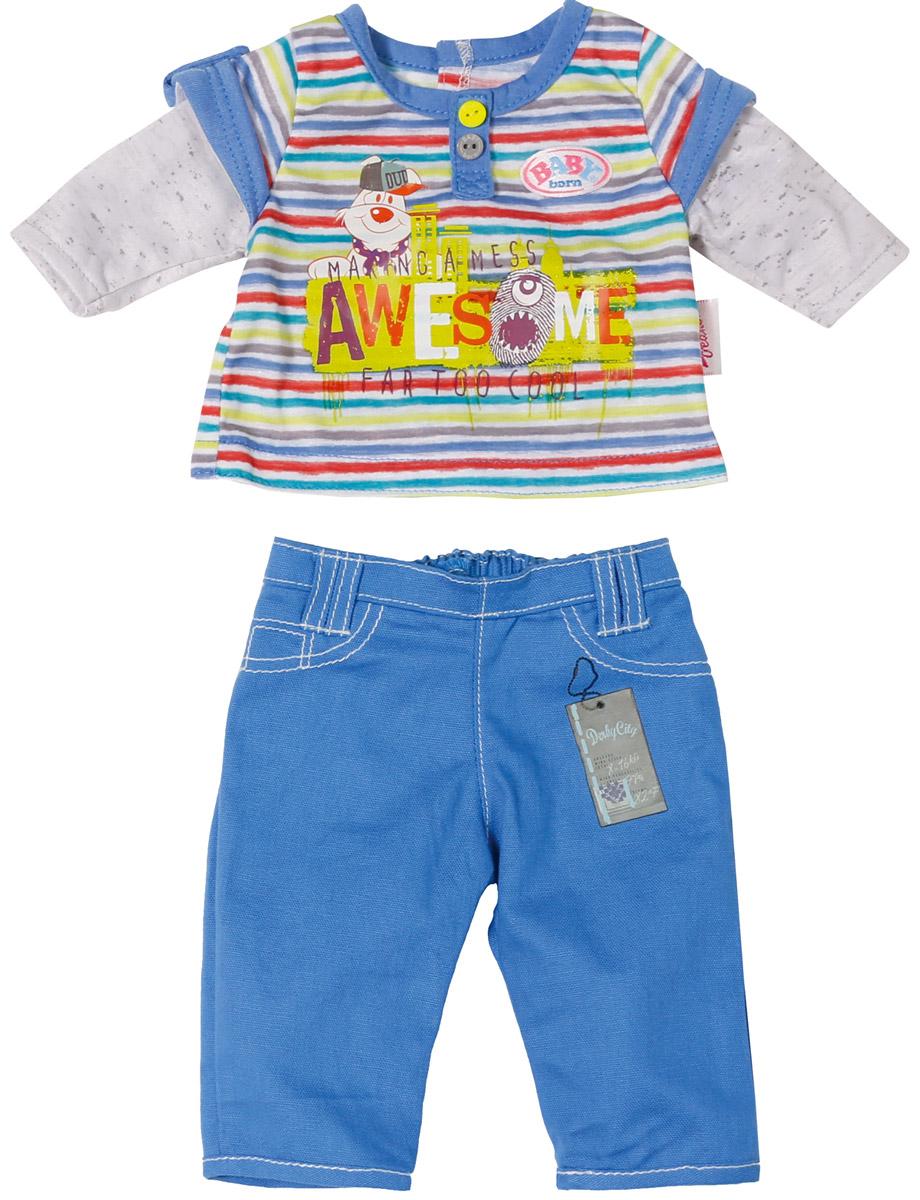 Baby Born Одежда для кукол Стильная 2 предмета цвет синий 822-197_кофта-полоска, брюки синие
