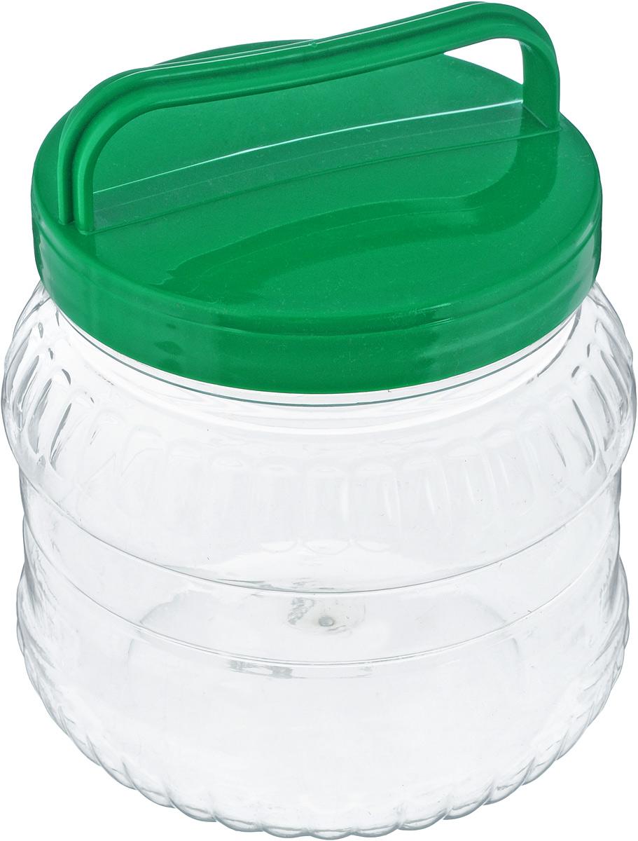 Бидон Альтернатива, цвет: прозрачный, зеленый, 1 лМ469_зеленыйБидон Альтернатива, выполненный из высококачественного пластика, предназначен для хранения сыпучих продуктов или жидкостей. Крышка оснащена ручкой для удобной переноски. Высота бидона (без учета крышки): 12 см. Диаметр по верхнему краю: 10,5 см.
