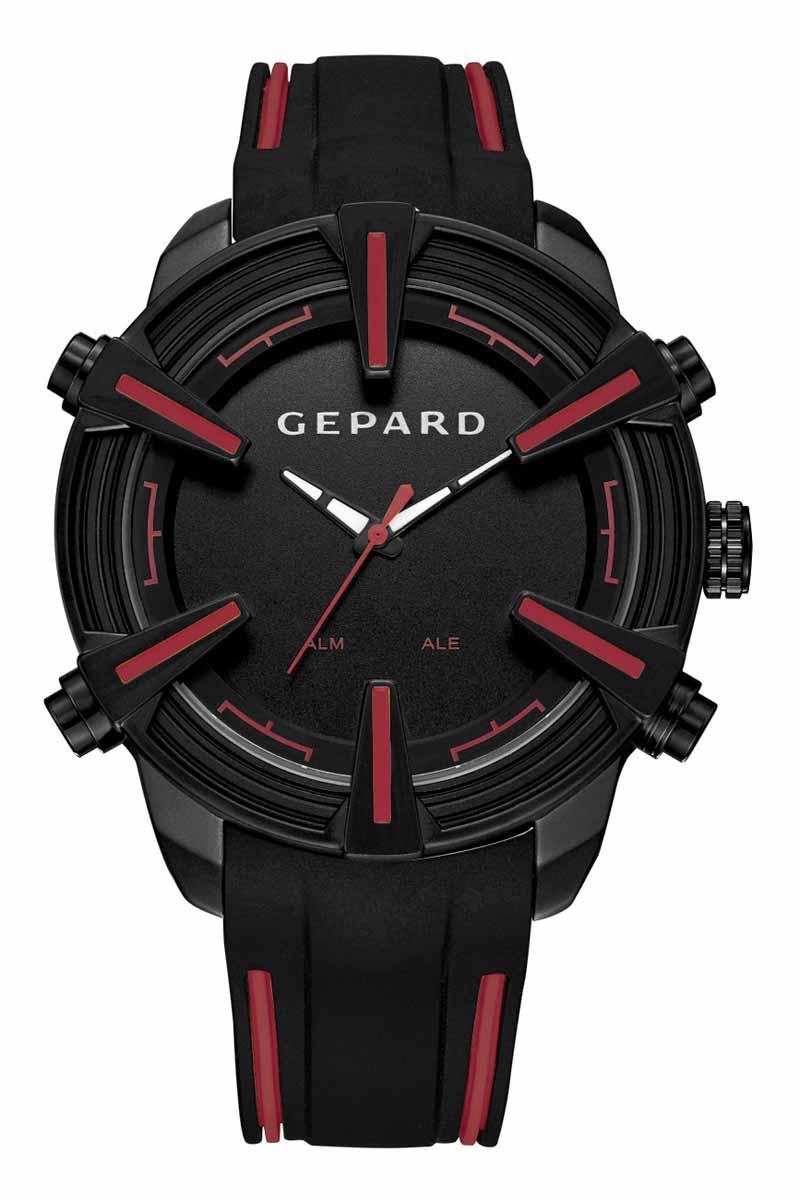 Часы наручные мужские Gepard, цвет: черный, красный. 1236A11L11236A11L1Наручные кварцевые часы Gepard выполнены из высококачественных материалов. Время этих часов отображается не только посредством стрелок, но и светящимися белыми цифрами электронного механизма, появляющимися на 3 секунды при нажатии на любую из четырех кнопок. Выбор черного покрытия корпуса обусловлен его стойкостью к внешним воздействиям в сочетании с эстетической привлекательностью. Часовая индикация выполнена на венчике корпуса в виде крупных объемных знаков с красным заполнением. Эстетика контрастных полос продолжается в дизайне силиконового ремня, укомплектованного надежной пряжкой. Модель комплектуется двумя типами механизма-аналоговым и электронным, производства Японии.