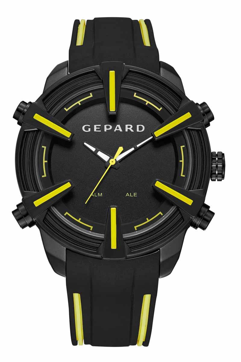 Наручные часы мужские Gepard, цвет: черный, желтый. 1236A11L21236A11L2Время этих часов отображается не только посредством стрелок, но и светящимися белыми цифрами электронного механизма, появляющимися на 3 секунды при нажатии на любую из четырех кнопок. Выбор черного покрытия корпуса обусловлен его стойкостью к внешним воздействиям в сочетании с эстетической привлекательностью. Часовая индикация выполнена на венчике корпуса в виде крупных объемных знаков с желтым заполнением. Эстетика контрастных полос продолжается в дизайне силиконового ремня, укомплектованного надежной пряжкой. Модель комплектуется двумя типами механизма-аналоговым и электронным, производства Японии.