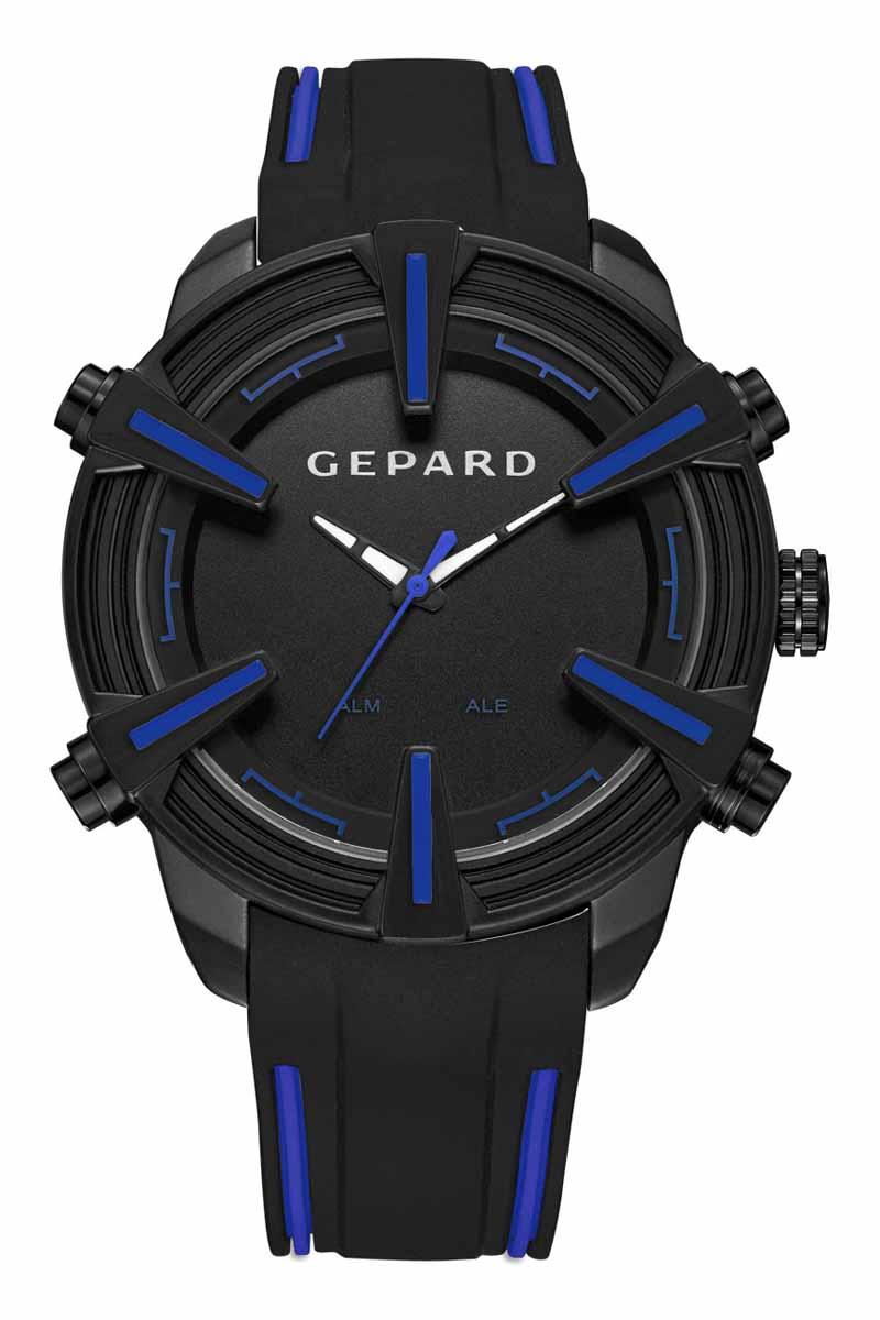 Часы наручные мужские Gepard, цвет: черный, синий. 1236A11L31236A11L3Наручные кварцевые часы Gepard выполнены из высококачественных материалов. Время этих часов отображается не только посредством стрелок, но и светящимися белыми цифрами электронного механизма, появляющимися на 3 секунды при нажатии на любую из четырех кнопок. Выбор черного покрытия корпуса обусловлен его стойкостью к внешним воздействиям в сочетании с эстетической привлекательностью. Часовая индикация выполнена на венчике корпуса в виде крупных объемных знаков с синим заполнением. Эстетика контрастных полос продолжается в дизайне силиконового ремня, укомплектованного надежной пряжкой. Модель комплектуется двумя типами механизма-аналоговым и электронным, производства Японии.