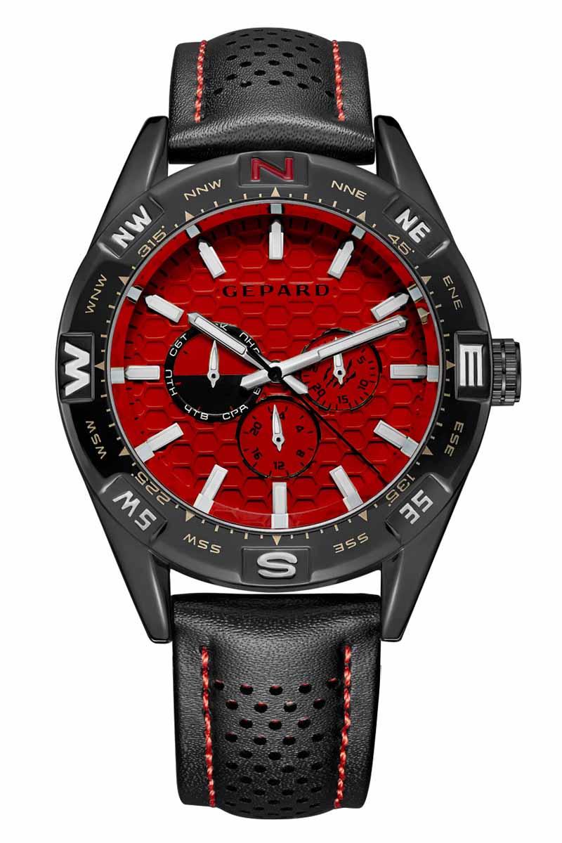 Часы наручные мужские Gepard, цвет: черный, красный. 1237A11L21237A11L2Наручные кварцевые часы Gepard выполнены из высококачественных материалов. Циферблат тщательно декорирован. Показания дополнительных функций сложного механизма удобно скомпонованы на красном поле. У отметки 3 часа-день месяца, у 9 часов-день недели, у 6 часов-24-часовая шкала. Часовая индикация выполнена по принципу контраста-большие накладные знаки и стальные стрелки с белым заполнением. Черный, перфорированный по центру, ремень с контрастной красной прострочкой дополнен надежной и удобной пряжкой.