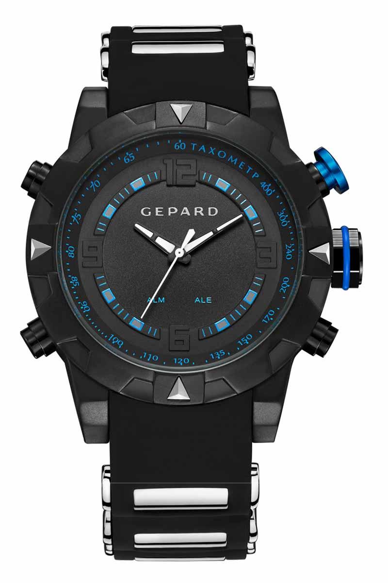 Часы наручные мужские Gepard, цвет: черный, синий. 1238A11L21238A11L2Наручные кварцевые часы Gepard выполнены из высококачественных материалов. Спортивный дизайн подчеркнут использованием двух абсолютно разных типов японских механизмов- аналогового и электронного. Яркие цифры, загорающиеся при нажатии любой из кнопок, крайне полезная функция. Часы выпускаются в крупном корпусе с черным коррозионностойким покрытием. Крупные детали венчика сочетаются со стальными элементами силиконового ремня. Контрастные белые стрелки аналогового механизма движутся вдоль объемной арабской часовой оцифровки и синей шкалы минутной дорожки.