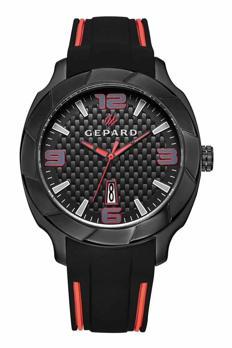 Наручные часы мужские Gepard, цвет: черный, красный. 1239A11L11239A11L1Благодаря эффектному дизайну и высокой точности, модель заняла достойное место в коллекции Гепард Угличского часового завода. Черная матовая поверхность, напоминающая детали элитного автомобиля, намекают на высокую точность и надежность часов.Безупречная эстетика подчеркивается черным циферблатом с контрастно выделяющимися стильными арабскими цифрами серого цвета с красной окантовкой и знаками. Широкие стрелки заполнены красной массой.Часы комплектуются кварцевым механизмом с календарем, производства фирмы MiyotaSitizen (Япония). Срок службы элемента питания 2 год.Силиконовый ремень с надежной пряжкой делает модель более удобной и практичной.