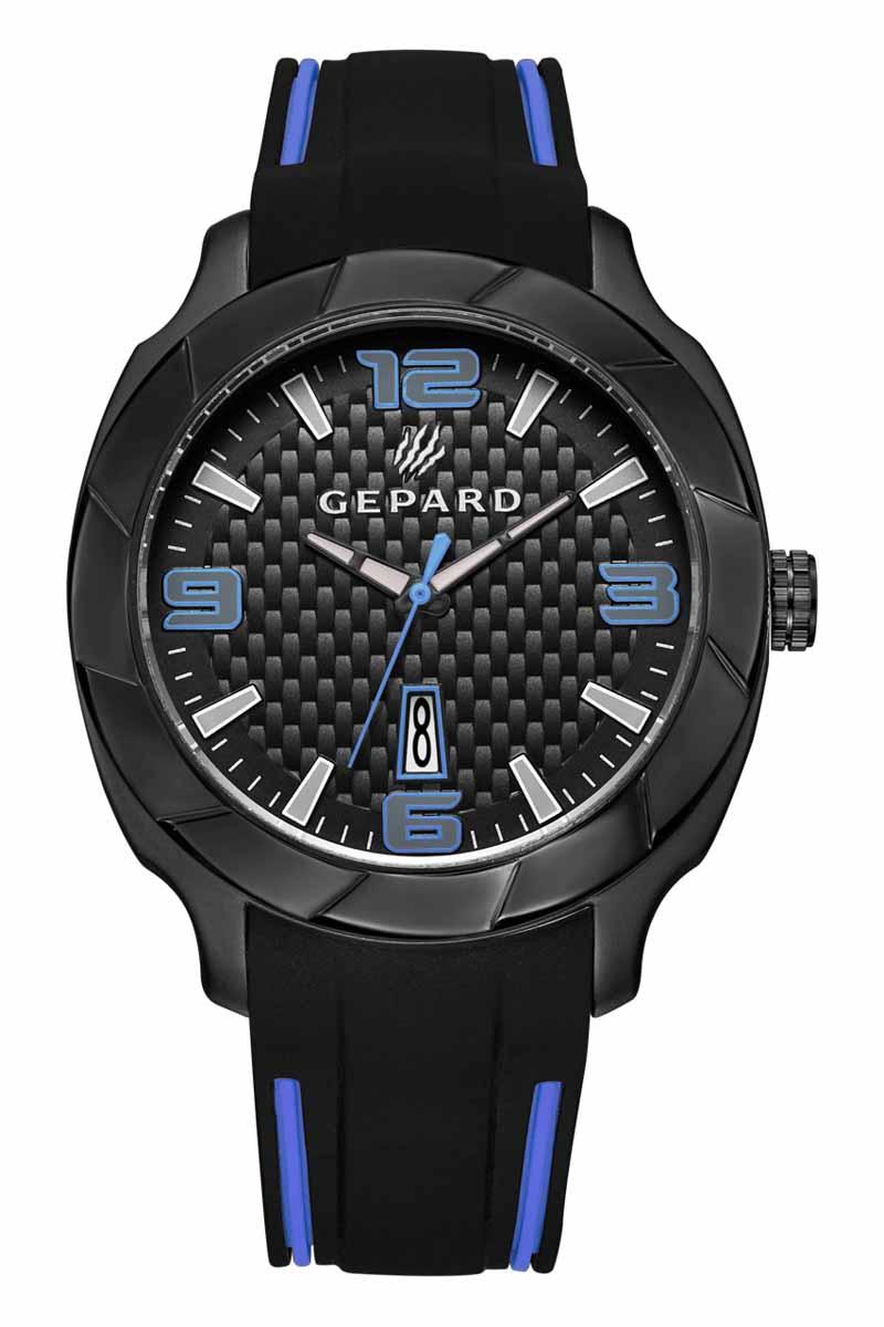Часы наручные мужские Gepard, цвет: черный, синий. 1239A11L21239A11L2Наручные кварцевые часы Gepard выполнены из высококачественных материалов. Безупречная эстетика подчеркивается черным циферблатом с контрастно выделяющимися стильными арабскими цифрами серого цвета с синей окантовкой и знаками. Широкие стрелки заполнены белой массой.Часы комплектуются кварцевым механизмом с календарем, производства фирмы MiyotaSitizen (Япония). Силиконовый ремень с надежной пряжкой делает модель более удобной и практичной.
