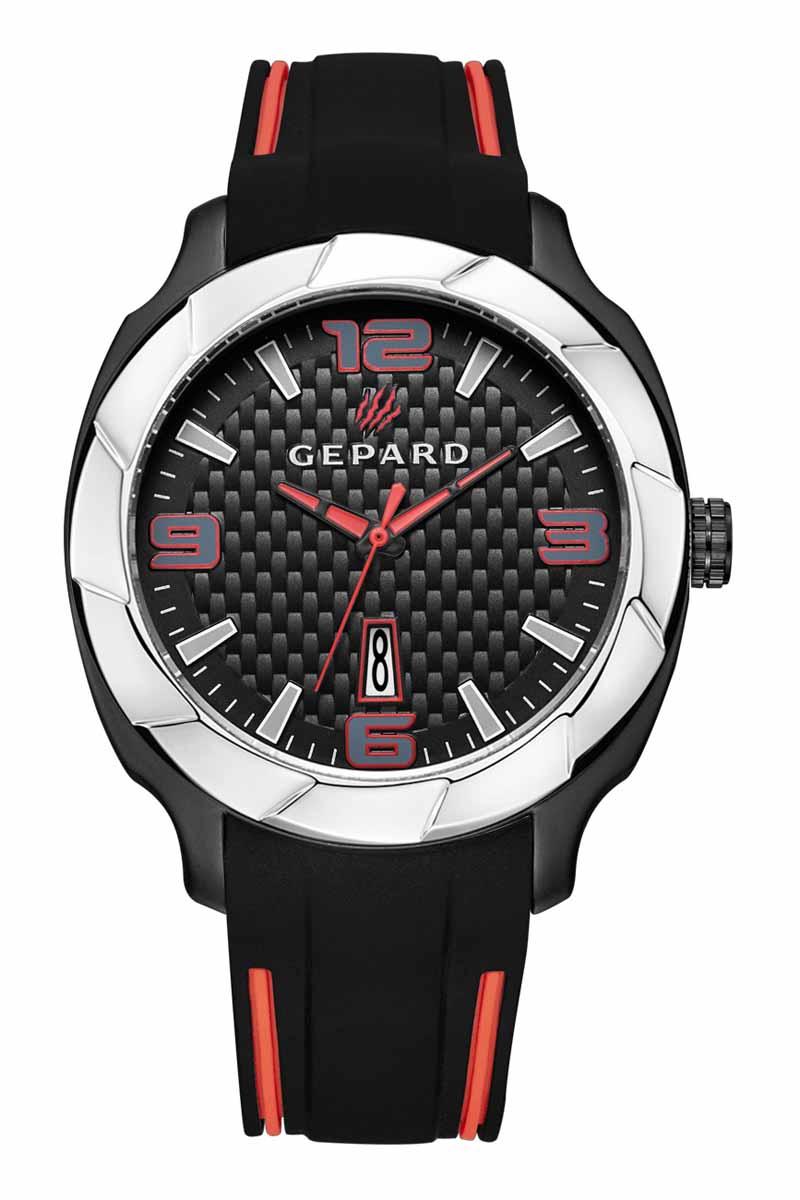 Часы наручные женские Gepard, цвет: черный, серебристый. 1239A12L11239A12L1Наручные кварцевые часы Gepard выполнены из высококачественных материалов. Безупречная эстетика подчеркивается черным циферблатом с контрастно выделяющимися стильными арабскими цифрами серого цвета с красной окантовкой и знаками. Широкие стрелки заполнены красной массой.Часы комплектуются кварцевым механизмом с календарем, производства фирмы MiyotaSitizen (Япония). Силиконовый ремень с надежной пряжкой делает модель более удобной и практичной.