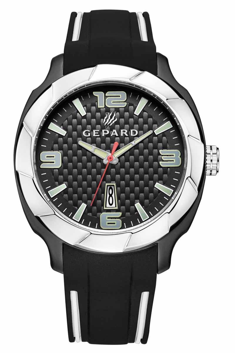 Часы наручные мужские Gepard, цвет: черный, серебристый. 1239A12L31239A12L3Наручные кварцевые часы Gepard выполнены из высококачественных материалов. Поверхность, напоминающая детали элитного автомобиля, намекают на высокую точность и надежность часов.Безупречная эстетика подчеркивается черным циферблатом с контрастно выделяющимися стильными арабскими цифрами серого цвета и знаками. Широкие стрелки заполнены белой массой.Часы комплектуются кварцевым механизмом с календарем, производства фирмы MiyotaSitizen (Япония). Силиконовый ремень с надежной пряжкой делает модель более удобной и практичной.