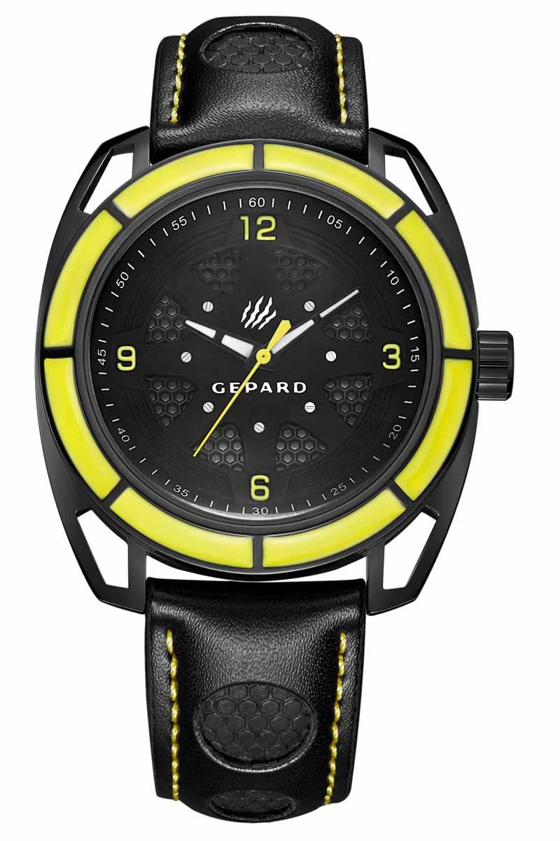 Часы наручные мужские Gepard, цвет: черный, желтый. 1243A11L31243A11L3Наручные кварцевые часы Gepard выполнены из высококачественных материалов. Эти часы обладают всеми характерными признаками коллекции Гепард. Стильный спортивный дизайн, преобладание черного цвета, контрастные детали и высокоточный кварцевый механизм. Сектора желтого цвета на венчике подчеркиваются смелым дизайном ушей с пустотами и часовой индикацией на темном, двухуровневом циферблате. Японский механизм, производства фирмы MiyotaSitizen, оснащен часовой, минутной и секундной стрелками. Завершающим штрихом модели является черный гладкий ремень с фактурными вставками и контрастной прострочкой.