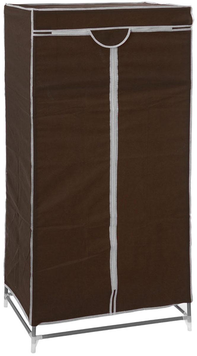 Мобильный шкаф для одежды Sima-land, цвет: темно-коричневый, 90 х 45 х 145 см. 888799888799_черныйМобильный шкаф для одежды Sima-land, предназначенный для хранения одежды и других вещей, это отличное решение проблемы, когда наблюдается явный дефицит места или есть временная необходимость. Складной тканевый шкаф - это мобильная конструкция, состоящая из сборного металлического каркаса, на который натянут чехол из нетканого полотна. Корпус шкафа сделан из легкой, но прочной стали, а обивка из полиэстера, который можно легко стирать в стиральной машинке. Шкаф оснащен двумя текстильными дверями, которые закрываются на застежку-молнию. Шкаф снабжен полкой и планкой для хранения вещей на вешалках.