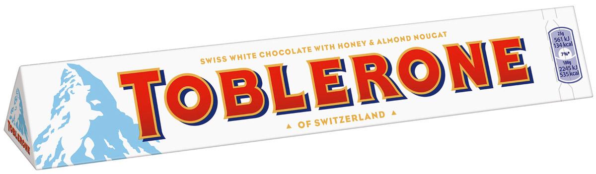 Toblerone шоколад белый с медово-миндальной нугой, 100 г 12568, 4010976