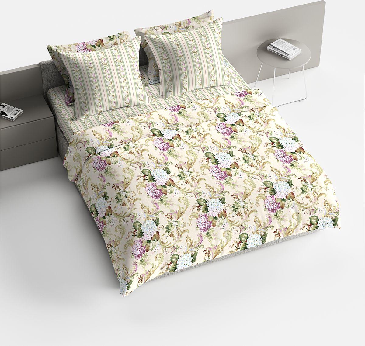 Комплект белья Браво Гортензия, 1,5 спальное, наволочки 70x70, цвет: светло-бежевый. 1818-146068