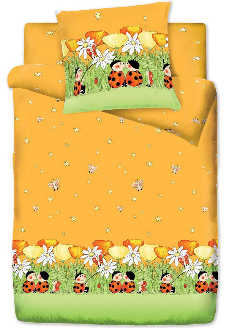 Комплект белья Браво Кидс Божьи коровки, 1,5-спальное, наволочки 70x70, цвет: оранжевый66642BRAVO Kids Dreams - линейка постельного белья для детей и подростков из прекрасной ткани LUX COTTON (высококачественный поплин). Это современные забавные и яркие дизайны, которые украсят любой интерьер детской комнаты и долго будут радовать своих обладателей высоким качеством и отличным внешним видом. • Равноплотная ткань из 100% хлопка; • Обработана по технологии мерсеризации и санфоризации; • Мягкая и нежная на ощупь; • Устойчива к трению; • Обладает высокими показателями гигроскопичности (впитывает влагу); • Выдерживает частые стирки, сохраняя первоначальные цвет, форму и размеры; • Безопасные красители ведущего немецкого производителя BEZEMA • Лауреат премии Золотой медвежонок