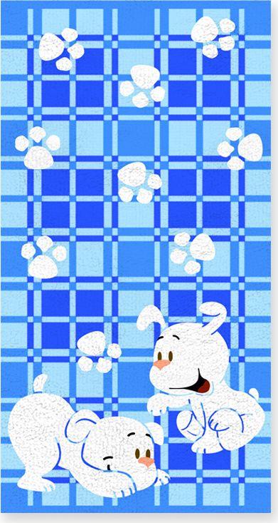 Полотенце махровое НВ Щенки, цвет: голубой, 60 х 120 см. м0567_0171271