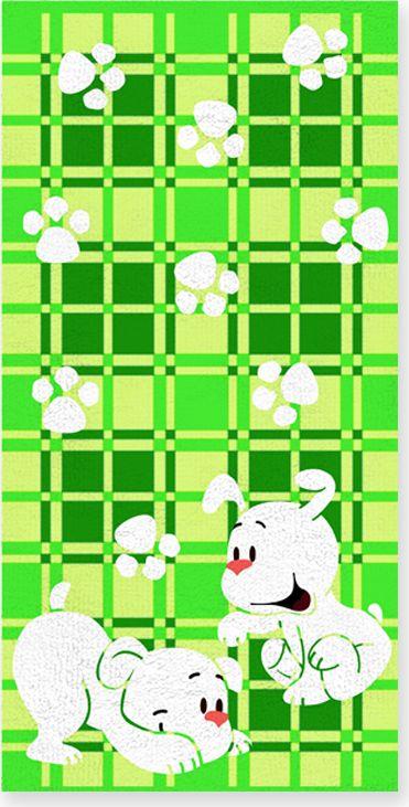 Полотенце махровое НВ Щенки, цвет: зеленый, 60 х 120 см. м0567_0371273