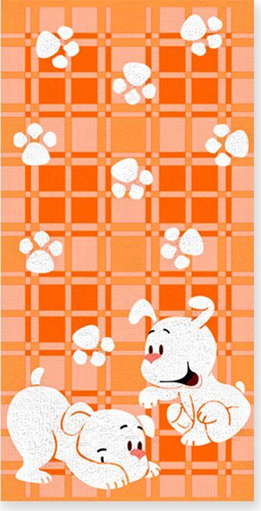 Полотенце махровое НВ Щенки, цвет: оранжевый, 60 х 120 см. м0567_1371274