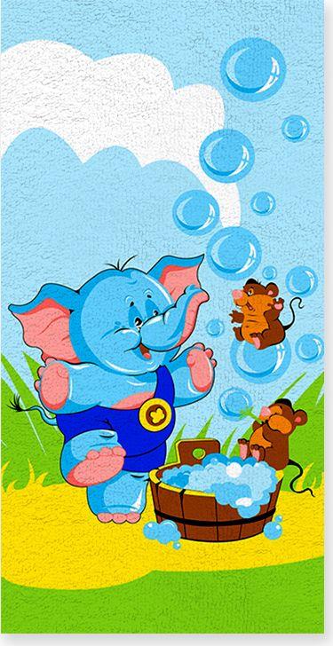 Полотенце махровое ВТ Забавный слоник, цвет: синий, 33 х 70 см. м1052_0173099