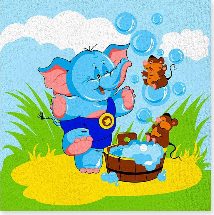 Полотенце махровое ВТ Забавный слоник, цвет: синий, 120 х 120 см. м1052_0173101