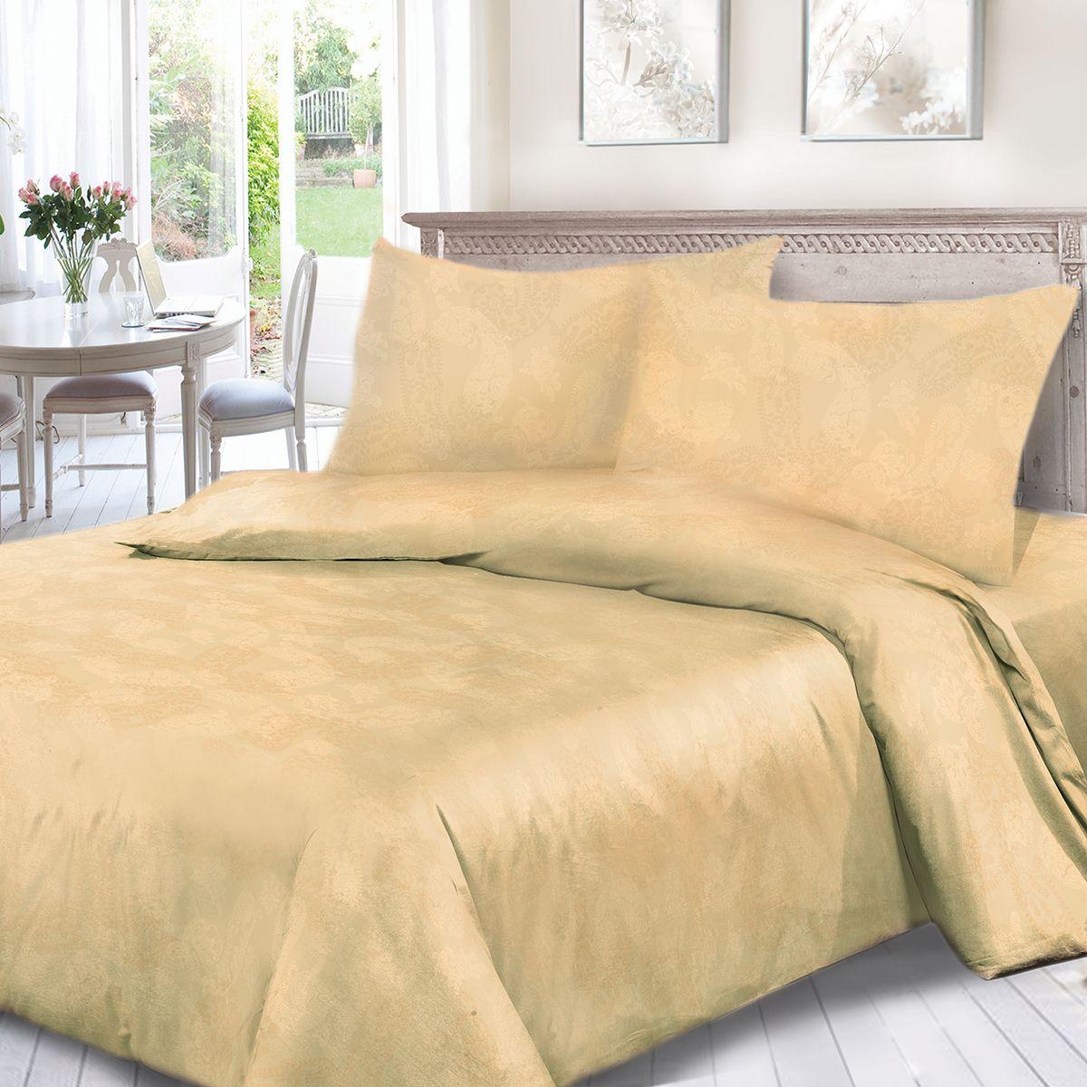 Комплект белья Сорренто Жаккард, 2-х спальное, наволочки 70x70, цвет: бежевый. 3558-280264