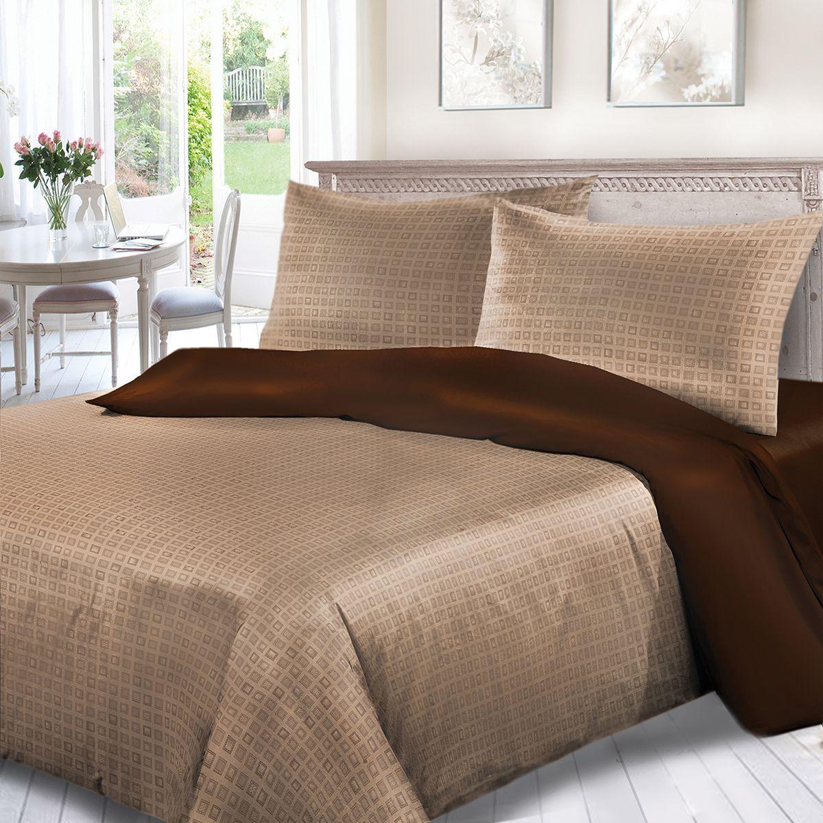 Комплект белья Сорренто Капитолий, евро, наволочки 70x70, цвет: коричневый. 3556-280271