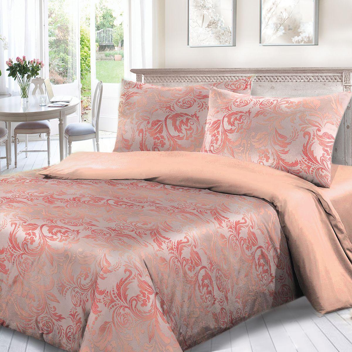 Комплект белья Сорренто Мажор, евро, наволочки 70x70, цвет: розовый. 3963-180278