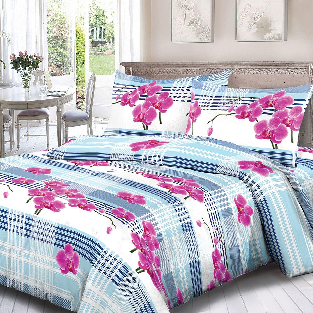 Комплект белья Для Снов Орхидея, 1,5 спальное, наволочки 70x70, цвет: розовый. 3547-181964