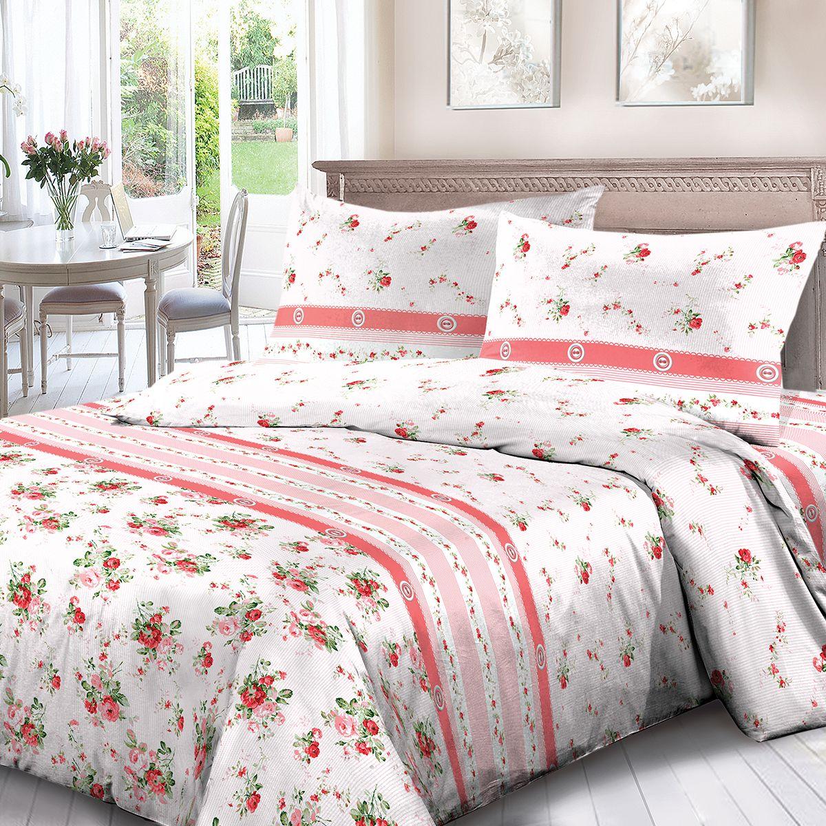 Комплект белья Для Снов Мирабель, 1,5 спальное, наволочки 70x70, цвет: розовый. 3668-181965