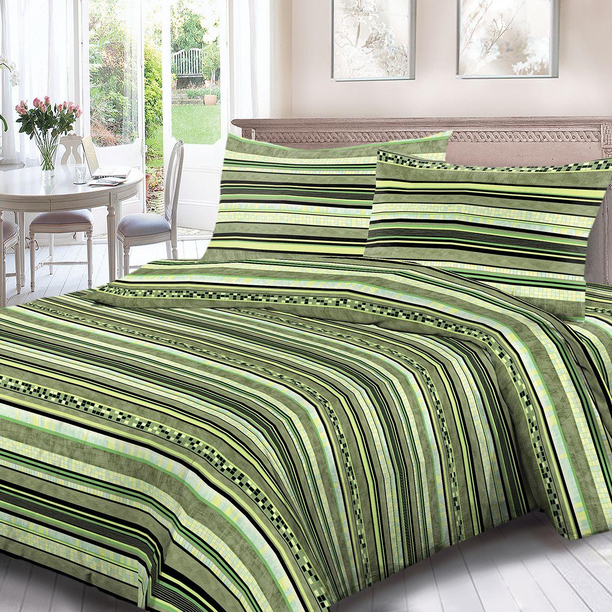 Комплект белья Для Снов Шанталь, 2-х спальное, наволочки 70x70, цвет: зеленый. 1680-181974