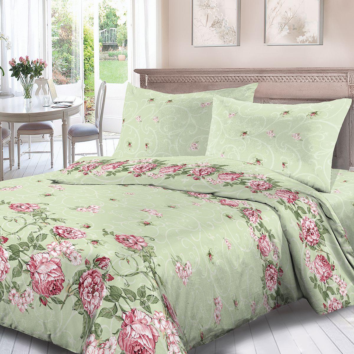 Комплект белья Для Снов Майя, 2-х спальное, наволочки 70x70, цвет: зеленый. 1754-181975