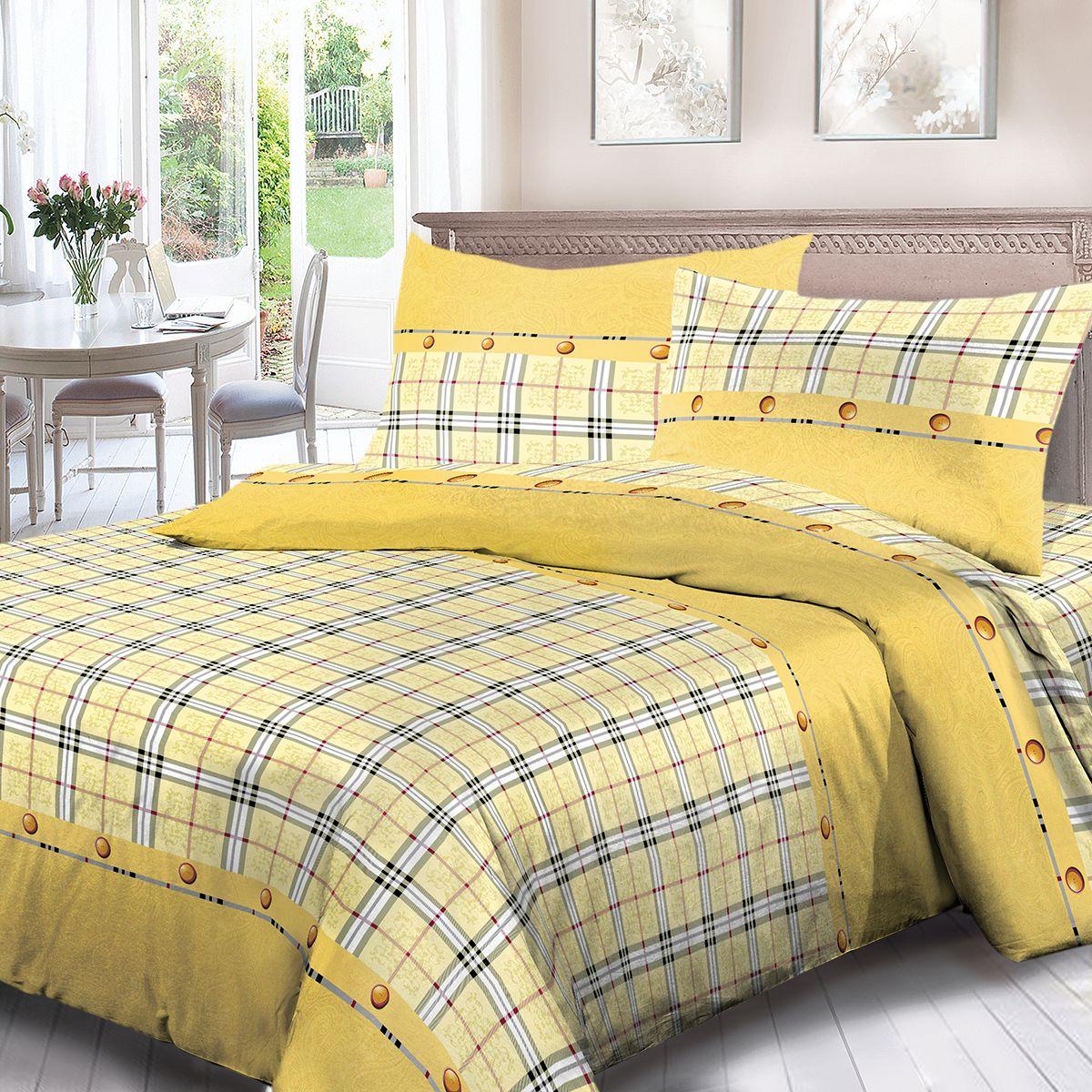 Комплект белья Для Снов Килт, 2-х спальное, наволочки 70x70, цвет: желтый. 1909-181977
