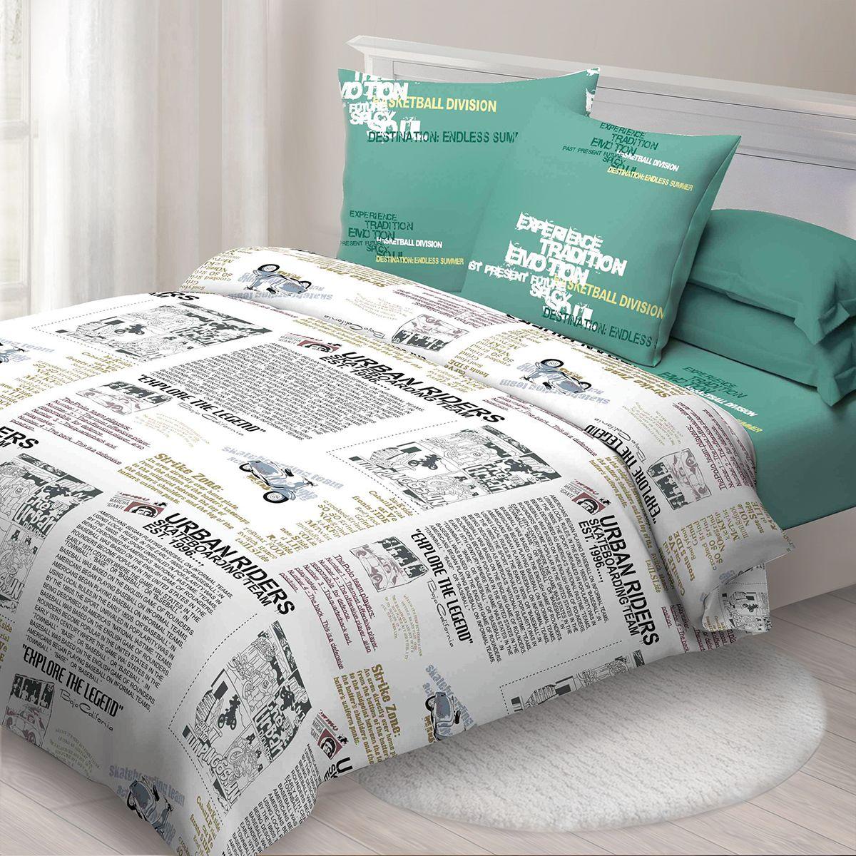 Комплект белья Спал Спалыч Новости, 1,5 спальное, наволочки 70x70, цвет: белый. 1629-182436