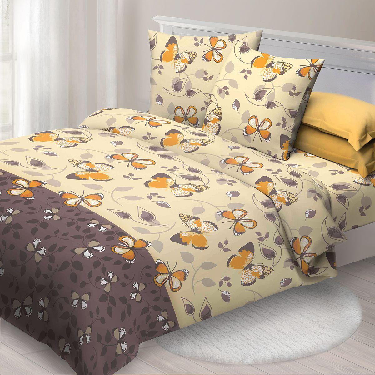 Комплект белья Спал Спалыч Фарфалла, 1,5 спальное, наволочки 70x70, цвет: желтый. 4079-182439