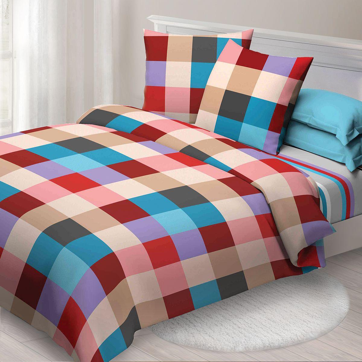 Комплект белья Спал Спалыч Рэйчел, 1,5 спальное, наволочки 70x70, цвет: бордовый. 4082-182440