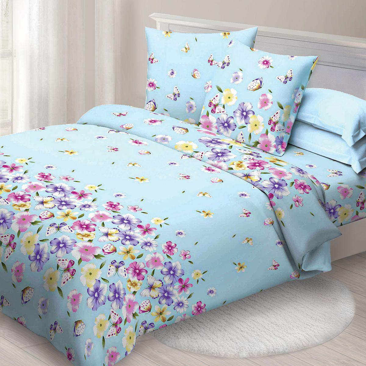 Комплект белья Спал Спалыч Летний день, 1,5 спальное, наволочки 70x70, цвет: голубой. 1271-182446