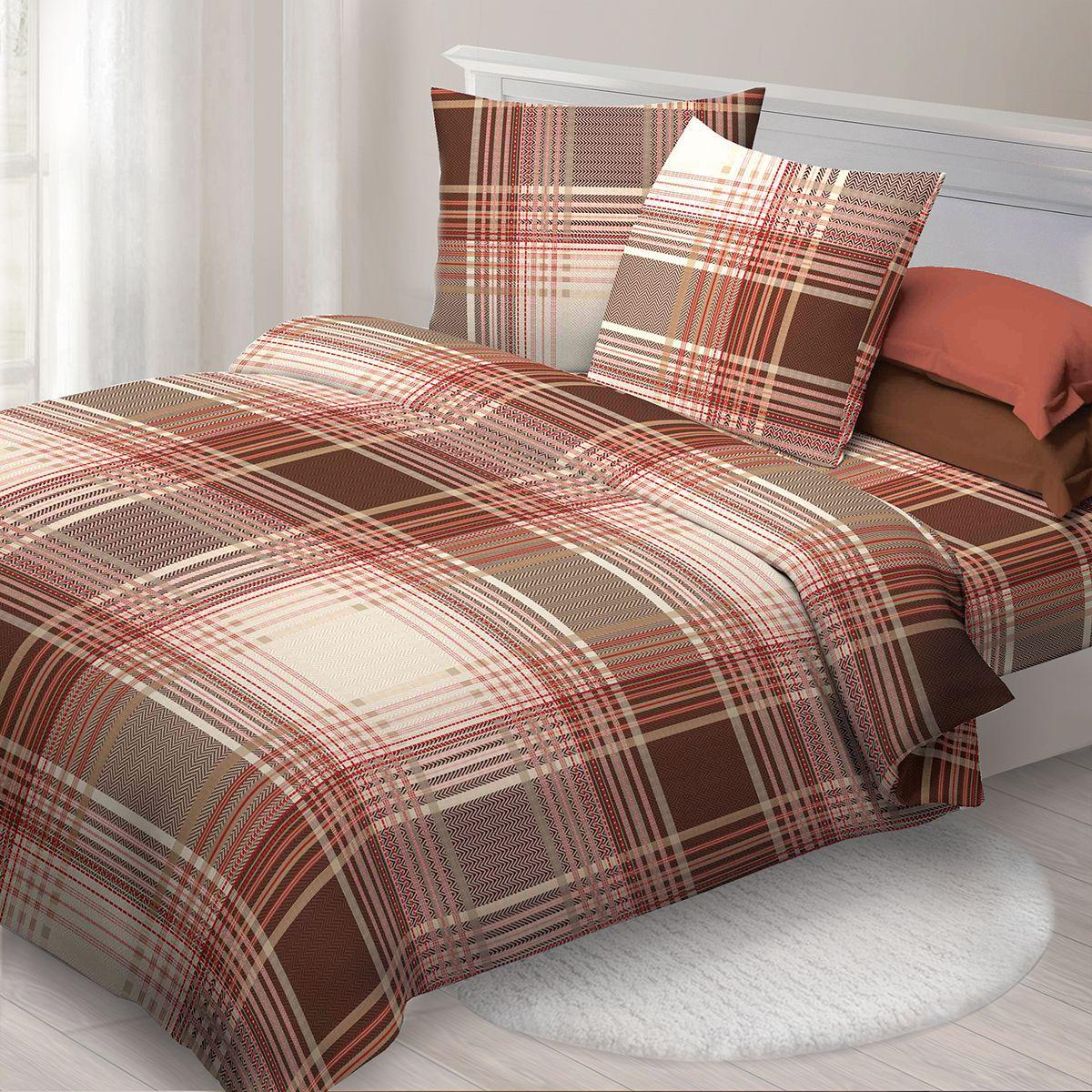 Комплект белья Спал Спалыч Твид , 1,5 спальное, наволочки 70x70, цвет: коричневый. 3569-182447