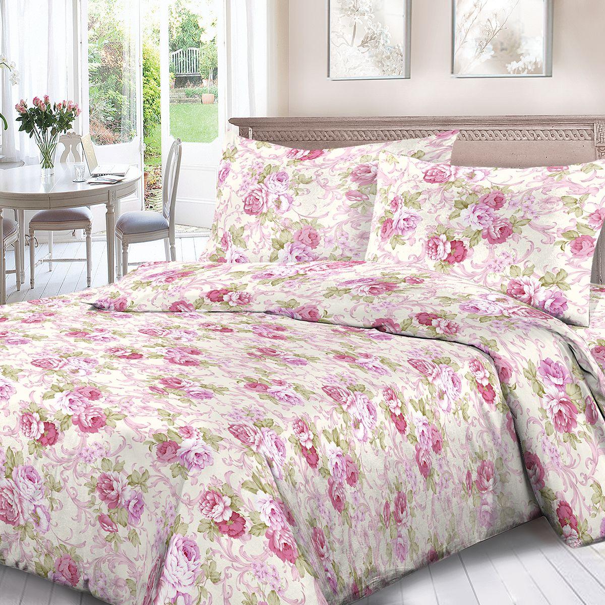 Комплект белья Для Снов Виктория, 1,5 спальное, наволочки 70x70, цвет: розовый. 1950-183137