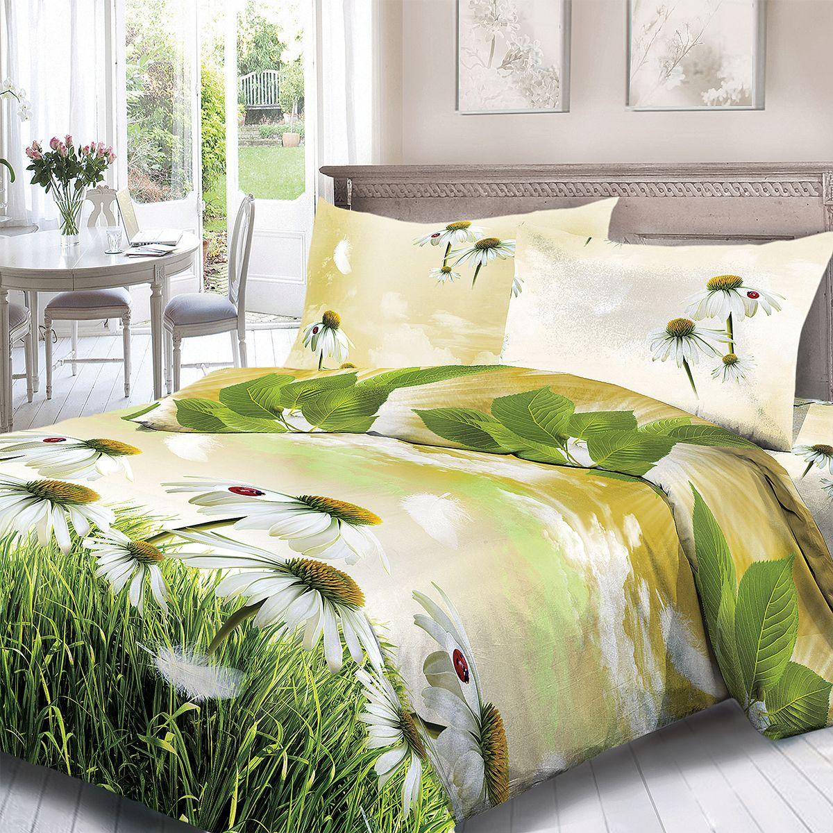Комплект белья Для Снов Эхо, 1,5-спальное, наволочки 70x70, цвет: зеленый83516Постельное белье из высококачественного поплина ( Ткань Традиция) , в составе которого находится только 100% мерсеризованный хлопок - это идеальный выбор современной женщины. Мерсеризация подчеркивает лучшие свойства хлопка: - Ткань прочнее обычной, при этом мягкая и шелковистая; - Цвета яркие и устойчивые; - Высокая гигроскопичность; - Меньше мнется, не линяет и не садится при многократных стирках; При производстве используются только безопасные красители ведущего швейцарского производителя BEZEMA Коллекция отличается тщательно проработанными современными дизайнами, разделенными на тематические группы. Созданные талантливыми европейскими и российскими художниками, они поражают своей нежной красотой, а восхитительная упаковка придает комплекту подарочный вид. Плотность ткани: 110 г/м.кв.