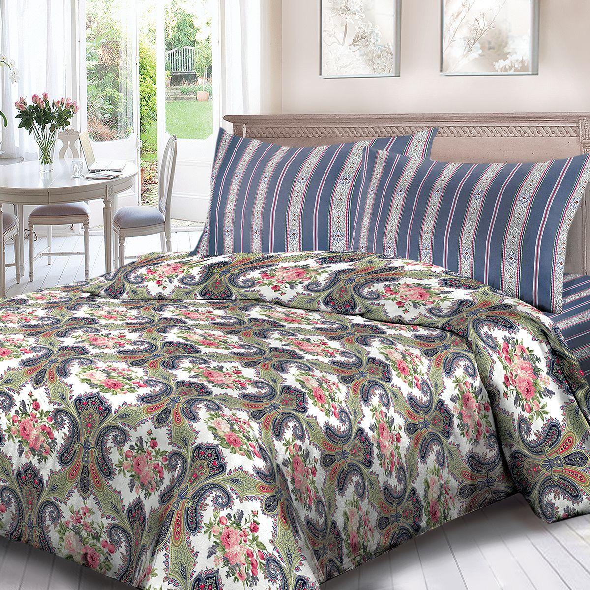 Комплект белья Для Снов Клэр, евро, наволочки 70x70, цвет: синий. 1705-183760
