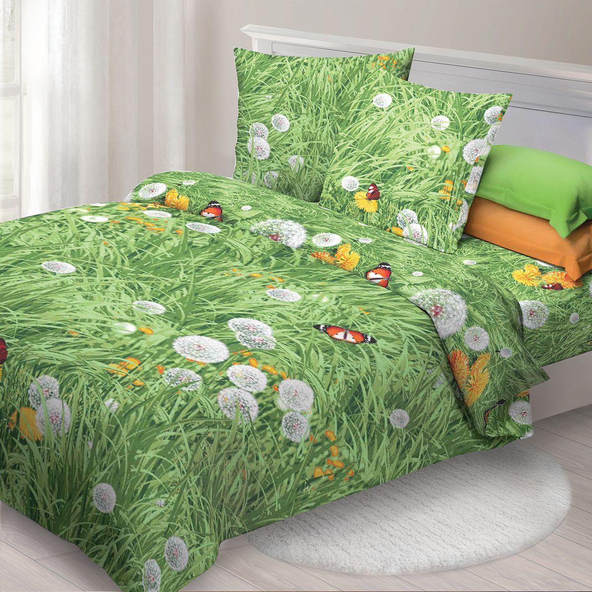 Комплект белья Спал Спалыч Одуванчики, семейный, наволочки 70x70, цвет: зеленый. 3619-184205