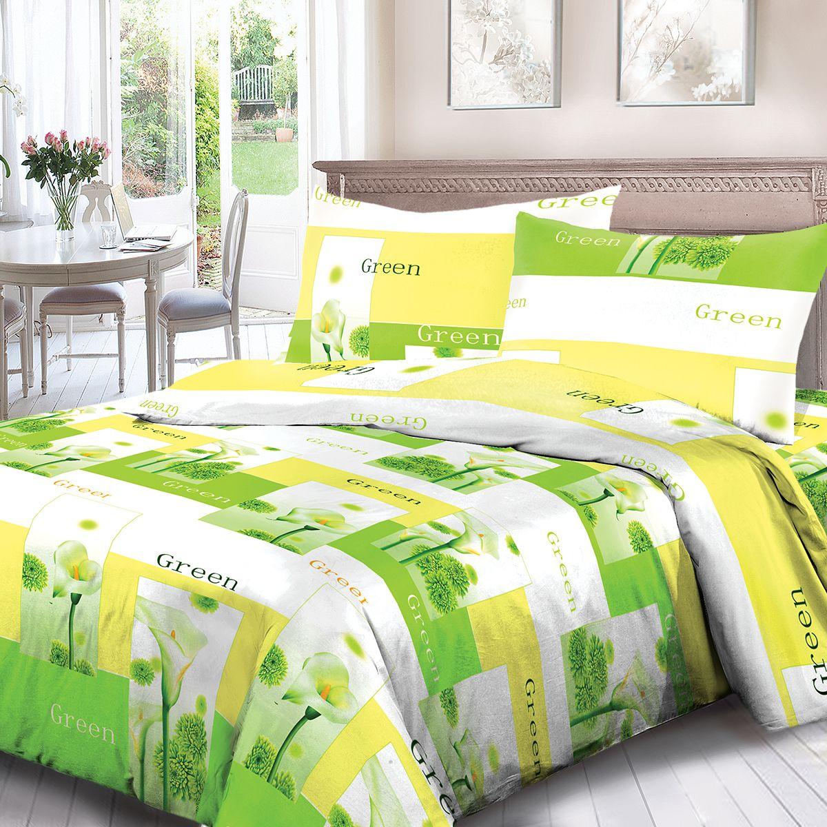 Комплект белья Для Снов Green, евро, наволочки 70x70, цвет: зеленый. 1537-184346