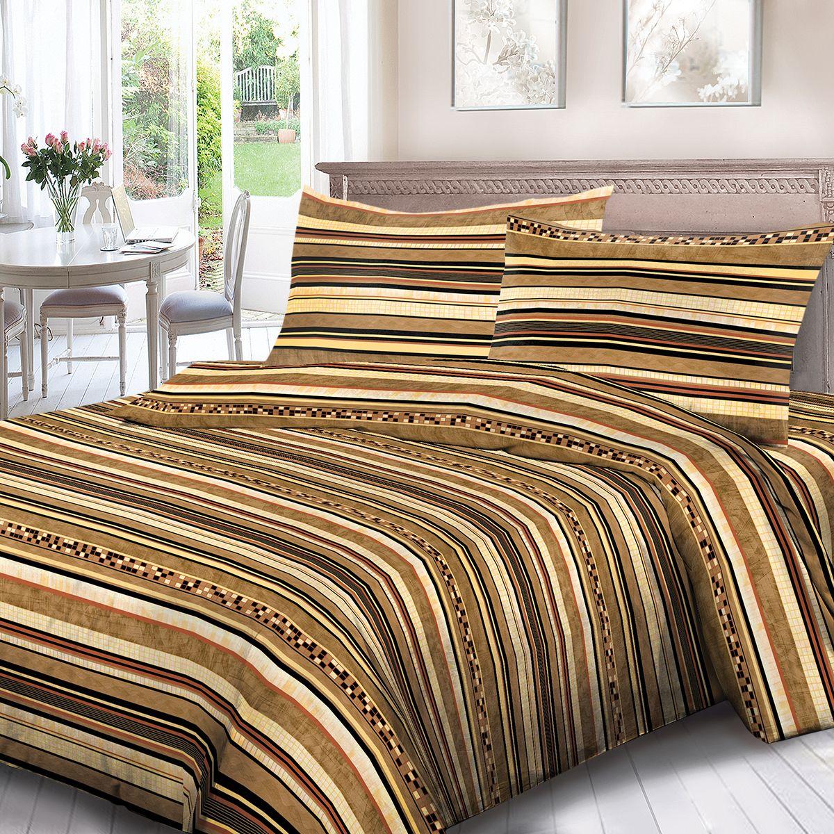 Комплект белья Для Снов Шанталь, 2-х спальное, наволочки 70x70, цвет: коричневый. 1680-284384