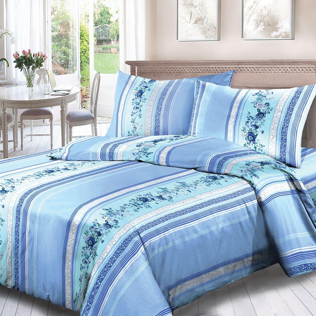 Комплект белья Для Снов Анабэль, 1,5-спальное, наволочки 70x70, цвет: голубой84451Постельное белье из высококачественного поплина ( Ткань Традиция) , в составе которого находится только 100% мерсеризованный хлопок - это идеальный выбор современной женщины. Мерсеризация подчеркивает лучшие свойства хлопка: - Ткань прочнее обычной, при этом мягкая и шелковистая; - Цвета яркие и устойчивые; - Высокая гигроскопичность; - Меньше мнется, не линяет и не садится при многократных стирках; При производстве используются только безопасные красители ведущего швейцарского производителя BEZEMA Коллекция отличается тщательно проработанными современными дизайнами, разделенными на тематические группы. Созданные талантливыми европейскими и российскими художниками, они поражают своей нежной красотой, а восхитительная упаковка придает комплекту подарочный вид. Плотность ткани: 110 г/м.кв.