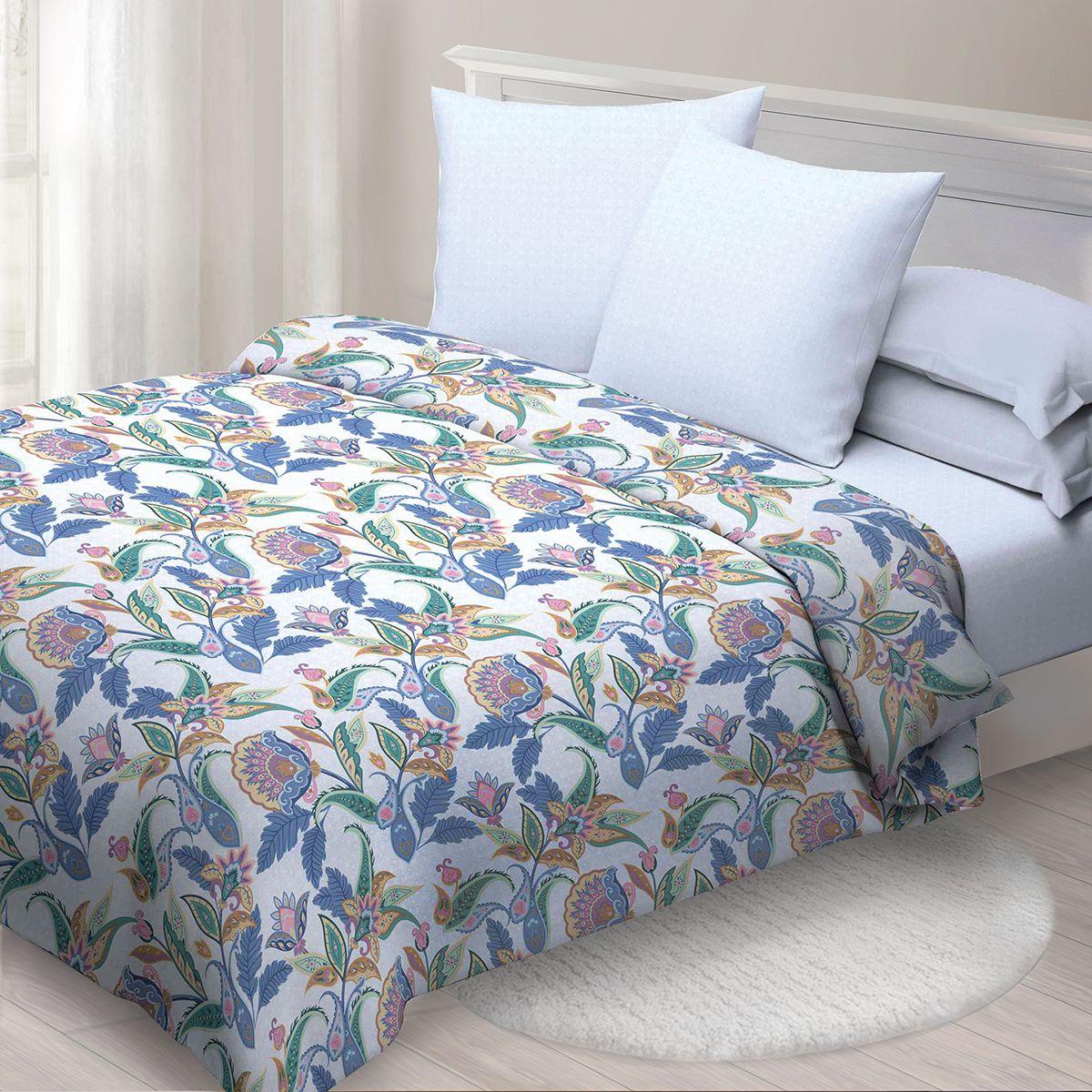 Комплект белья Спал Спалыч Индира, 1,5 спальное, наволочки 70x70, цвет: синий. 4091-185078
