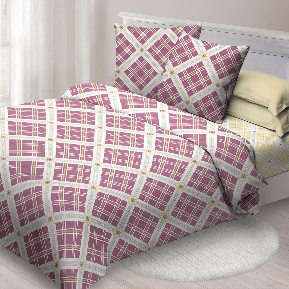 Комплект белья Спал Спалыч Ромбы, евро, наволочки 70x70, цвет: бордовый. 4090-285087