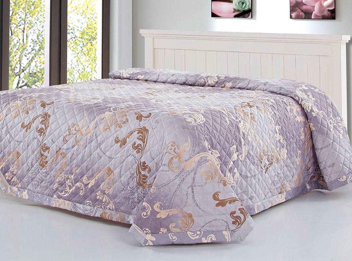 Покрывало Венеция, цвет: сиреневый, 220 х 240 см. 7604-2285451Превосходные покрывала Венеция. Принты с эффектом жаккарда в популярных спокойных расцветках. Упаковка - чемодан на молнии. Ткань 100% ПЭ.