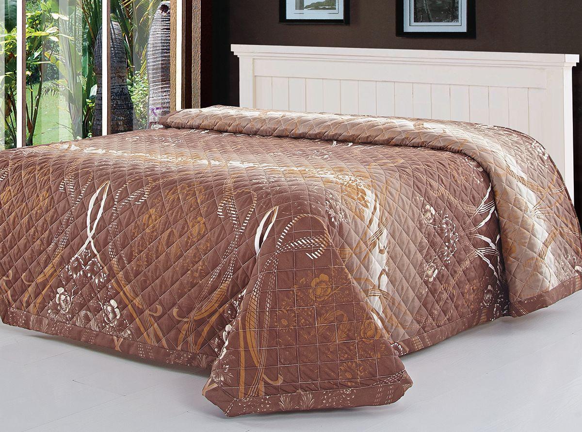 Покрывало Венеция, цвет: коричневый, 220 х 240 см. 7606-0785453Превосходные покрывала Венеция. Принты с эффектом жаккарда в популярных спокойных расцветках. Упаковка - чемодан на молнии. Ткань 100% ПЭ.