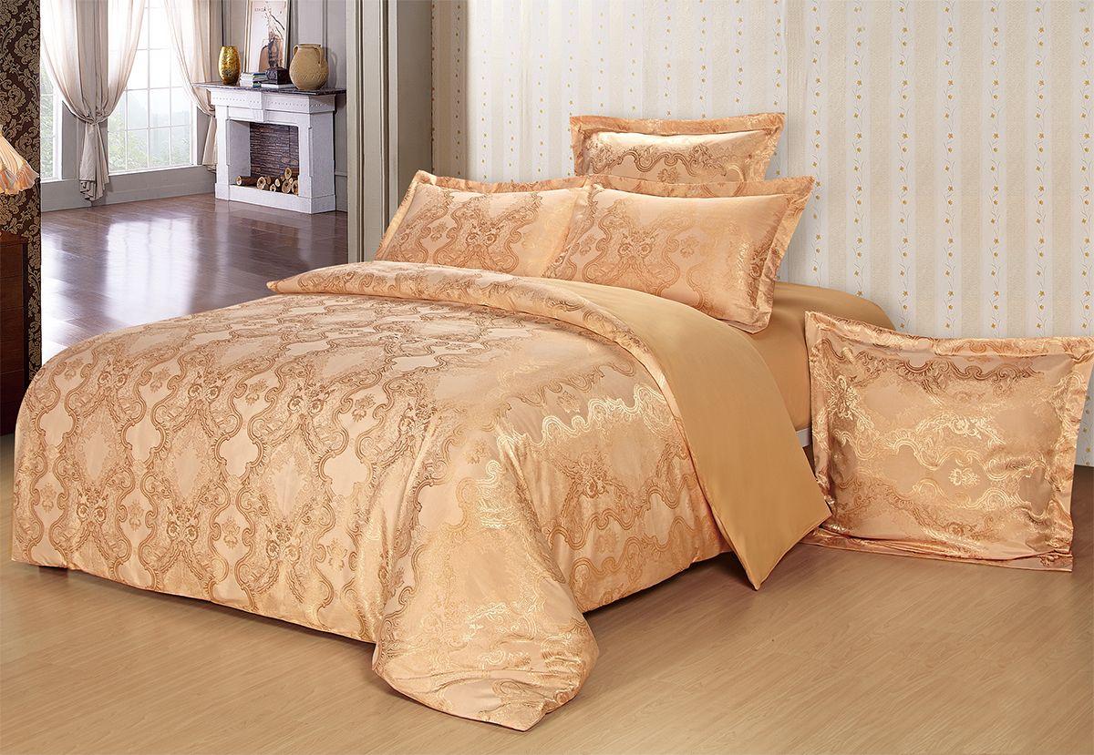 Комплект белья Versailles Берти, 2-спальное, наволочки 50x70, цвет: золотой85454Коллекция Versailles относится к продукции класса люкс. Постельное белье из сатина, сотканного из хлопка с добавлением вискозных волокон дарит приятные тактильные ощущения на протяжении всего сна, а уникальные жаккардовые узоры придают танки мягкий блеск и обеспечивают материалу особую прочность. Постельное белье «Versailles» - отличный подарок на любое торжество и идеальный выбор для взыскательных покупателей . Состав: Хлопок 70%, вискоза 30%