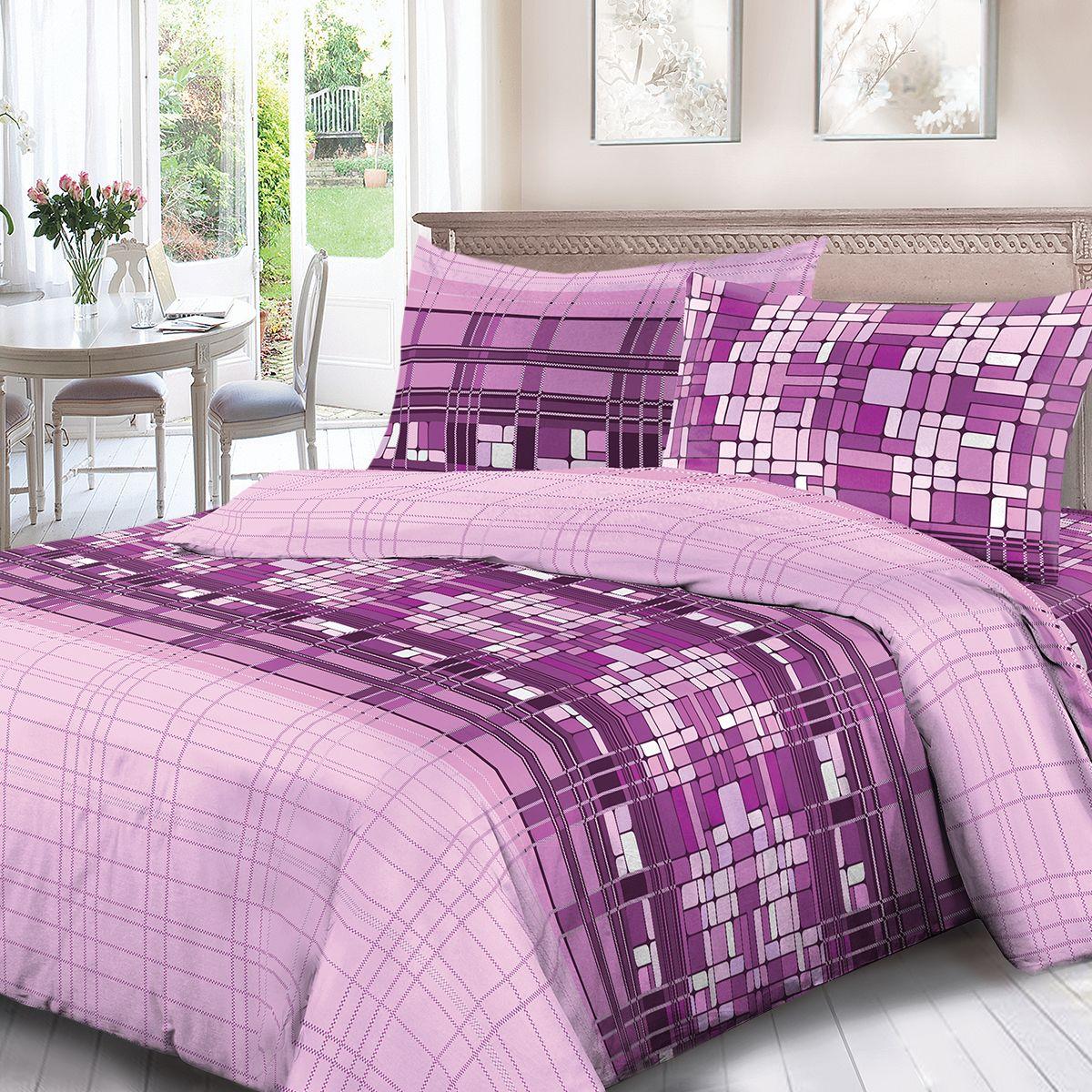 Комплект белья Для Снов Монпансье, 1,5 спальное, наволочки 70x70, цвет: сиреневый. 4072-186452